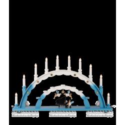 LEF 020 Schwibbogen mit Engel am Flügel, farbig von Blank Kunsthandwerk, Gruenhainichen