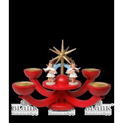 LEF 052T Adventsleuchter mit Teelichthalter und vier stehenden Engeln, rot