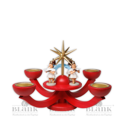 LEF 052T Advent Candle Holder for Tealights with 4 standing Angels, red