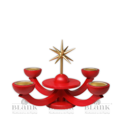 LEF 053T Advent Candle Holder for Tealights without Angels, red