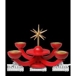 LEF 053T Adventsleuchter mit Teelichthalter, ohne Engel, rot von Blank Kunsthandwerk, Gruenhainichen