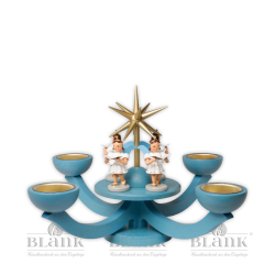 LEF 054T Advent Candle Holder for Tealights with 4 standing Angels, blue