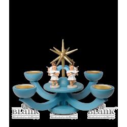 LEF 054T Adventsleuchter mit Teelichthalter und vier stehenden Engeln, blau von Blank Kunsthandwerk, Gruenhainichen
