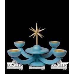 LEF 055 T Adventsleuchter mit Teelichthalter, ohne Engel, blau von Blank Kunsthandwerk, Gruenhainichen