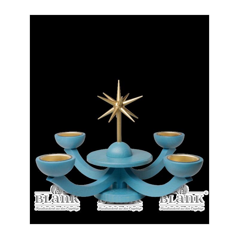 LEF 055 T Adventsleuchter mit Teelichthalter, ohne Engel, blau