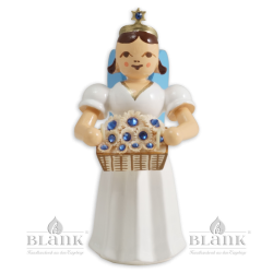 Angel with Long Robe and Basket of Flowers with Preciosa Crystals, coloured