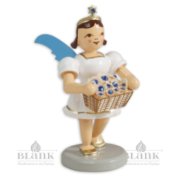 Angel with Short Pleated Skirt and Basket of Flowers with Preciosa Crystals, coloured