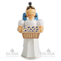 Angel with Long Robe and Basket of Flowers with Preciosa Crystals, coloured, 20 cm