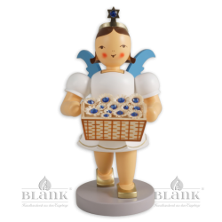 Angel with Short Pleated Skirt and Basket of Flowers with Preciosa Crystals, coloured, 20 cm