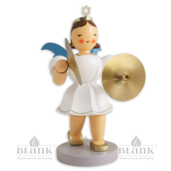 Angel with Short Pleated Skirt and Cymbals, 20 cm, coloured
