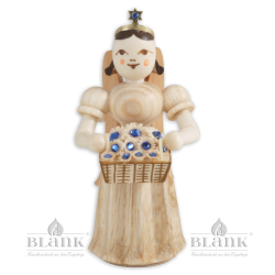 Angel with Long Pleated Robe and Basket of Flowers with Preciosa-Crystals
