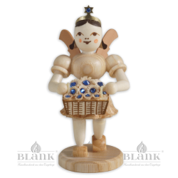 Angel with Short Pleated Skirt and Basket of Flowers with Preciosa Crystals