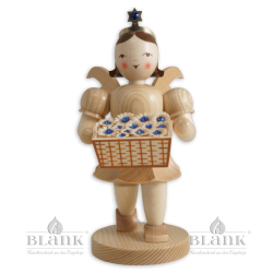 Angel with Short Pleated Skirt and Basket of Flowers with Preciosa Crystals, 20 cm