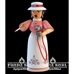 1171/1 Rauchfrau Lady mit Hund, farbig von Blank Kunsthandwerk, Gruenhainichen
