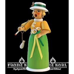 1171/2 Rauchfrau Lady mit Blumen, farbig von Blank Kunsthandwerk, Gruenhainichen