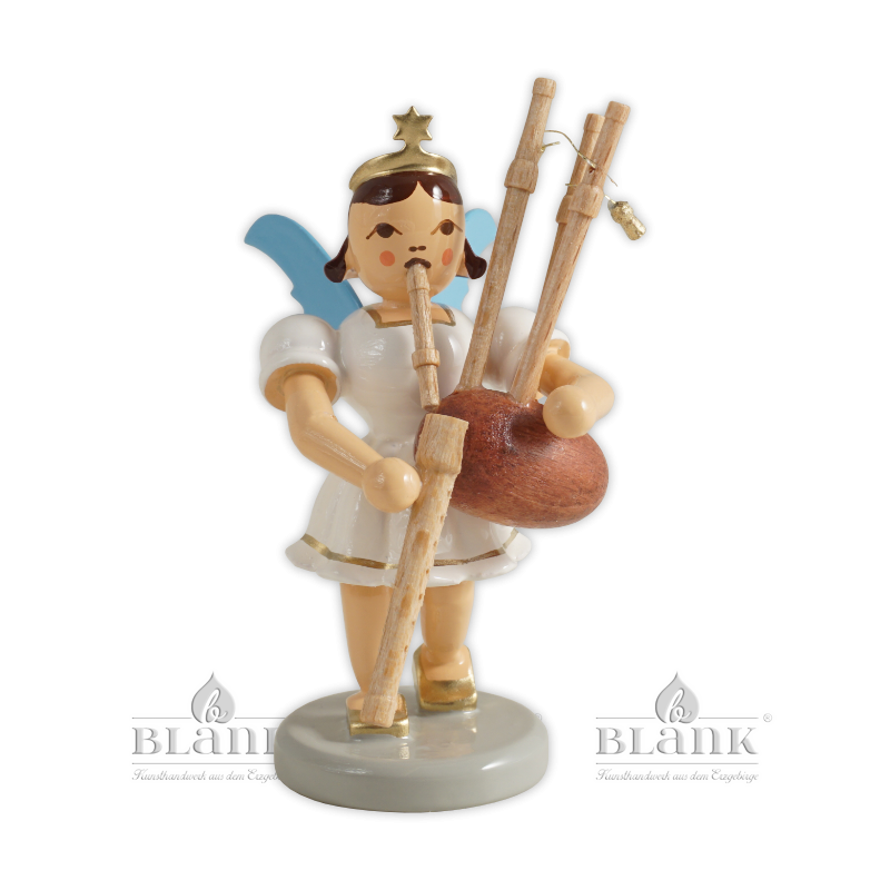 EKF 085 Angel with Short Pleated Skirt and Bagpipes, coloured