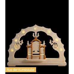 Schwibbogen Orgelkonzert, vorn, beleuchtet