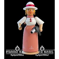 "1177 Rauchfrau ""Friseuse mit Föhn"" - 21 cm"