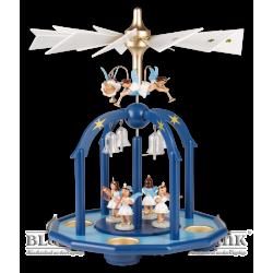 PGF 002T Pyramide mit 7 Engeln und Glasglöckchen mit Teelichthaltern, farbig von Blank Kunsthandwerk, Gruenhainichen