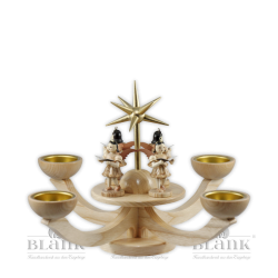 LE 052T Adventsleuchter mit Teelichthalter und vier stehenden Engeln