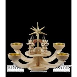 LE 052T Adventsleuchter mit Teelichthalter und vier stehenden Engeln von Blank Kunsthandwerk, Gruenhainichen