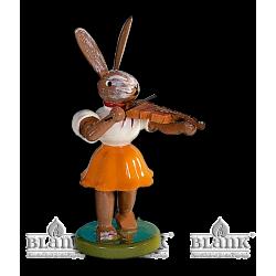 OHF 011 Osterhase mit Violine, farbig von Blank Kunsthandwerk, Gruenhainichen