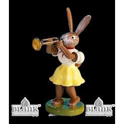 OHF 017 Osterhase mit Trompete, farbig von Blank Kunsthandwerk, Gruenhainichen