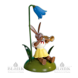 OHS 003 Osterhase sitz. mit Glockenblume und Trompete von Blank Kunsthandwerk, Gruenhainichen