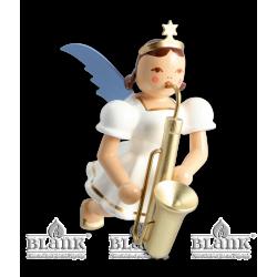 SEF 023 Schwebeengel mit Saxophon, farbig von Blank Kunsthandwerk, Gruenhainichen