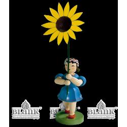 BKFM 009 Blumenkind mit Sonnenblume, 20 cm, farbig von Blank Kunsthandwerk, Gruenhainichen