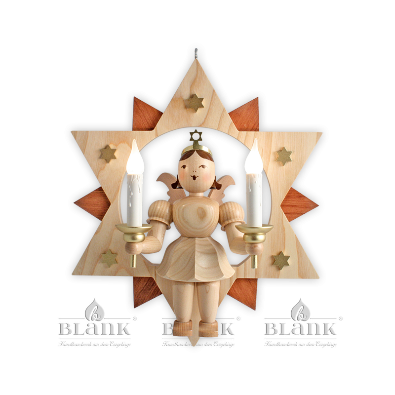 ESM 024 E Engel im Stern mit elektr. Beleuchtung, 28 cm