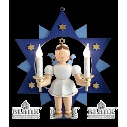 ESFM 024 E Engel im Stern mit elektr. Beleuchtung, 30 cm, farbig von Blank Kunsthandwerk, Gruenhainichen