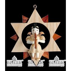 ES 046 Engel im Stern mit Blockflöte von Blank Kunsthandwerk, Gruenhainichen