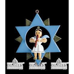 ESF 046 Engel im Stern mit Blockflöte, farbig von Blank Kunsthandwerk, Gruenhainichen