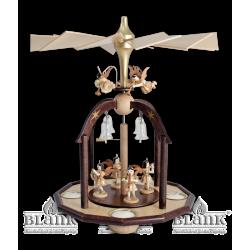 PG 002T Pyramide mit 7 Engeln und Glasglöckchen mit Teelichthaltern von Blank Kunsthandwerk, Gruenhainichen
