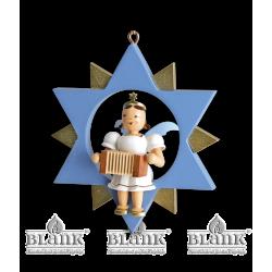 ESF 037 Engel im Stern mit Harmonika , farbig von Blank Kunsthandwerk, Gruenhainichen