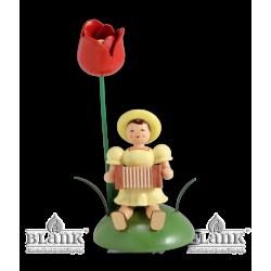 BKS 016 Blumenkind mit Tulpe und Harmonika, sitzend von Blank Kunsthandwerk, Gruenhainichen