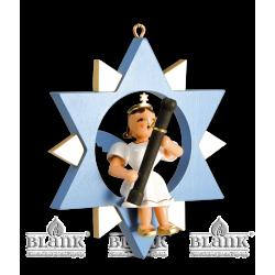 ESF 029 Engel im Stern mit Fagott, farbig von Blank Kunsthandwerk, Gruenhainichen
