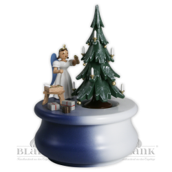 SPFL 022 Spieldose Weihnachtstraum mit Baum und Langrockengel, farbig von Blank Kunsthandwerk, Gruenhainichen