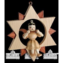 ES 052 Engel im Stern mit Mundharmonika von Blank Kunsthandwerk, Gruenhainichen