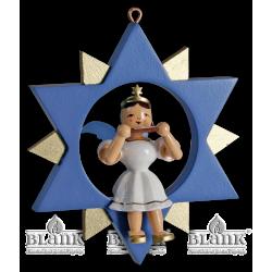 ESF 052 Engel im Stern mit Mundharmonika , farbig von Blank Kunsthandwerk, Gruenhainichen
