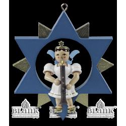 ESF 034 Engel im Stern mit Oboe , farbig von Blank Kunsthandwerk, Gruenhainichen