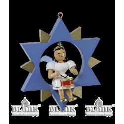 ESF 016 Engel im Stern mit Trommel, farbig von Blank Kunsthandwerk, Gruenhainichen