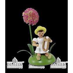BKS 026 Blumenkind mit Chrysantheme und Lyra, sitzend von Blank Kunsthandwerk, Gruenhainichen