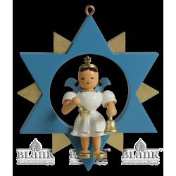 ESF 045 Engel im Stern mit Glocken, farbig von Blank Kunsthandwerk, Gruenhainichen