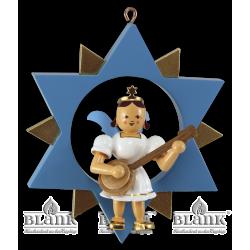 ESF 048 Engel im Stern mit Banjo, farbig von Blank Kunsthandwerk, Gruenhainichen