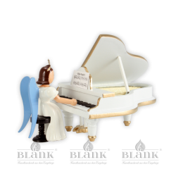 Angel with long robe at a white grand piano