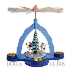 PKF 001T Pyramide mit 3 Engeln und Teelichthaltern, farbig von Blank Kunsthandwerk, Gruenhainichen