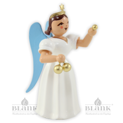 ELF-MF 006 Angel with Long Pleated Robe and Christmas Ornaments, coloured