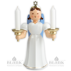 Angel with long robe and candle holder, colored - 20 cm (7.9 inches)
